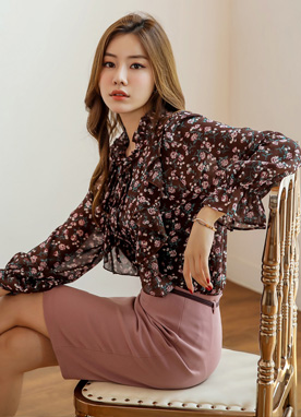 Floral Print Chiffon Frill Blouse, Styleonme