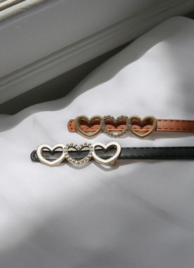 Heart Buckle Slim Belt, Styleonme