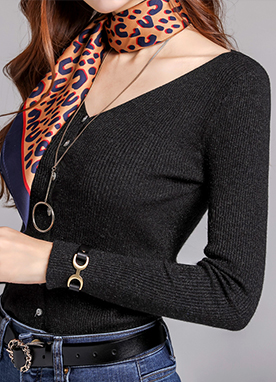 Glitter Detail Ribbed V-Neck Cardigan, Styleonme