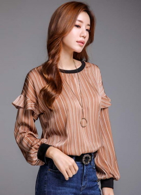 Pinstripe Ruffle Sleeve Detail Blouse, Styleonme