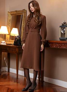 High Neck Belted Flared Dress, Styleonme