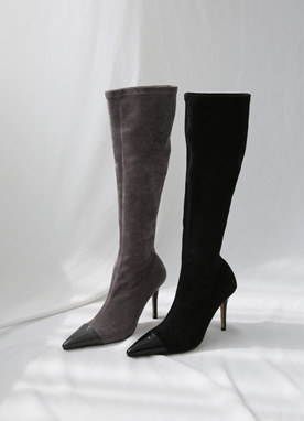Enamel Pointed Toe Long Boots, Styleonme