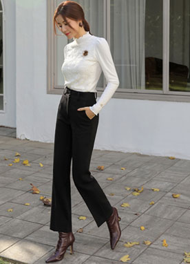 Two Button Straight Leg Slacks, Styleonme