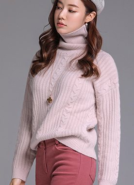 Cable Knit Turtleneck Sweater, Styleonme