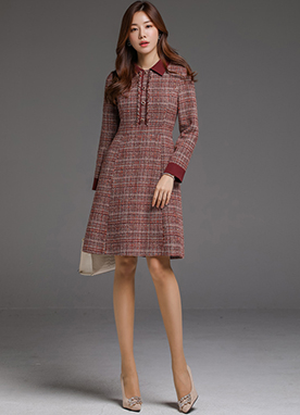 Pearl Belt Set Tweed Flared Dress, Styleonme