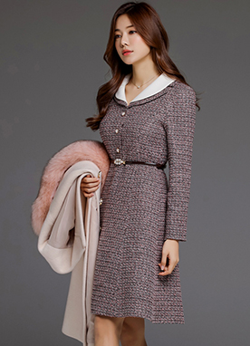 Pearl Belt Set Collared Dress, Styleonme