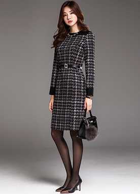 Houndstooth Check Print Belted Dress, Styleonme