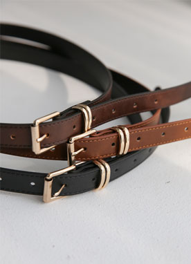 Gold Squared Buckle Daily Belt, Styleonme