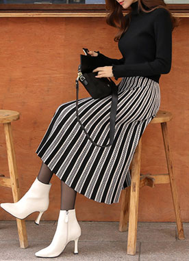 Jacquard Pleated Knit Skirt, Styleonme