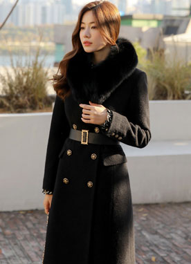 Star Button Double-Breasted Wool Tailored Coat, Styleonme