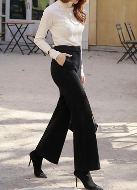 Wool-Blend Wide Leg Pants, Styleonme