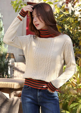 Stripe Turtleneck Knit Sweater, Styleonme