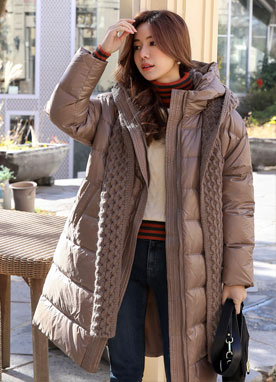 Luxury Knit Muffler Set Down Padded Coat, Styleonme