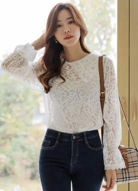 See-through Lace Collared Blouse, Styleonme