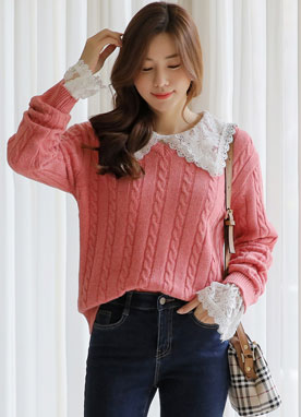 Cable Knit V-Neck Knit Sweater, Styleonme