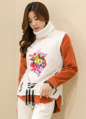 Flower Embroidered Turtleneck Knit Vest, Styleonme