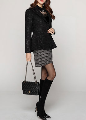 Metallic Peplum Tailored Jacket, Styleonme