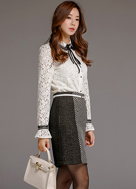 Brushed Floral Lace Collared Blouse, Styleonme