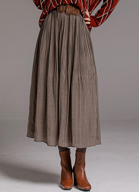 Check Smocked Waistband Long Flared Skirt, Styleonme