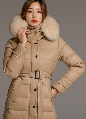 Down Belt Set Long Padded Coat, Styleonme