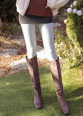 LOVE Mink Fur Lining Ribbed Leggings, Styleonme