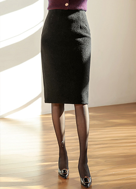 Wool-Blend Pencil Skirt, Styleonme
