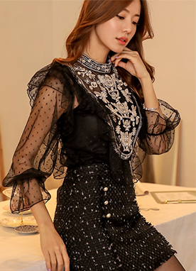 Ethnic Embroidery Dot Frill See-through Blouse, Styleonme