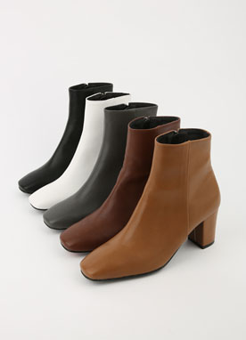 Squared Toe Brushed Lining Ankle Boots, Styleonme