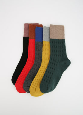 Two Color Cable Socks, Styleonme