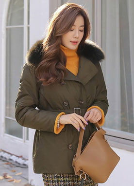 Double-Breasted Fox Fur Collar Padded Coat, Styleonme
