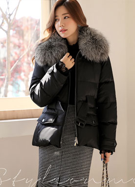 Fox Fur Collar Belted Padded Down Coat, Styleonme