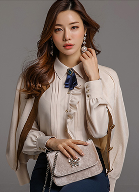 Gold Button Silky Frill Blouse, Styleonme