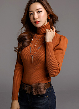Puff Sleeve Turtleneck Ribbed Knit Top, Styleonme