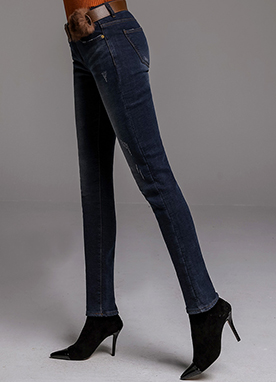 Deep Blue Wash Brushed Skinny Jeans, Styleonme