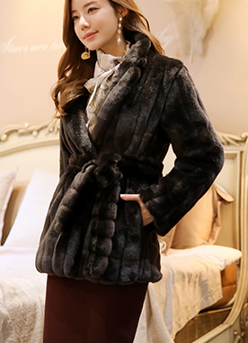 Soft Faux Fur Belt Set Jacket, Styleonme