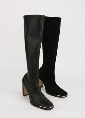Silver Toe Slim Knee High Boots, Styleonme