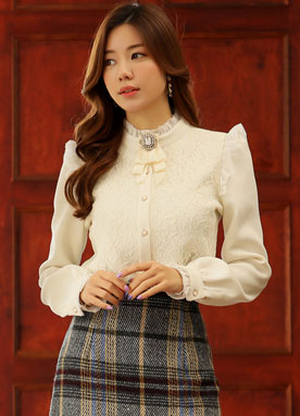 Floral Lace Frill Trim Blouse, Styleonme