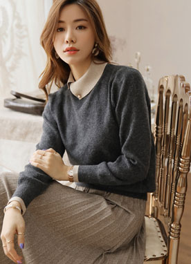 Pearl Accent Turned Collar Knit Top, Styleonme