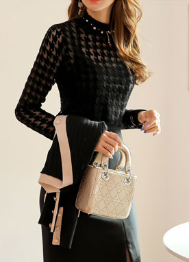 Houndstooth Check Velvet See-through Blouse, Styleonme
