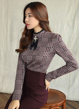 Houndstooth Check Edgy Shoulder Blouse, Styleonme