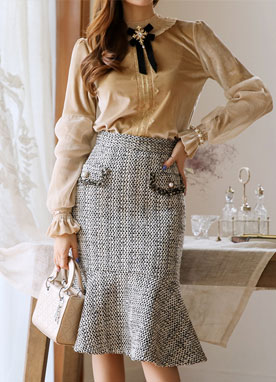 Gold Tweed Mermaid Hem Skirt, Styleonme