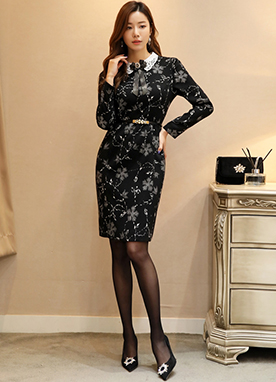 Floral Print Lace Collar Dress, Styleonme