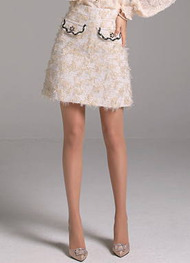 Metallic Gold Tweed Mini Skirt, Styleonme