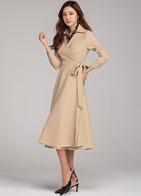 Ribbon Waist Tie Wrap Shirt Dress, Styleonme