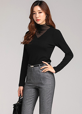 Shirred See-through Mock Neck Knit Tee, Styleonme