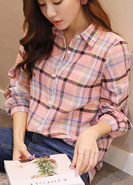 Pastel Check Print Collared Shirt, Styleonme