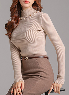 Pearl Detail High Neck Ribbed Knit Top, Styleonme