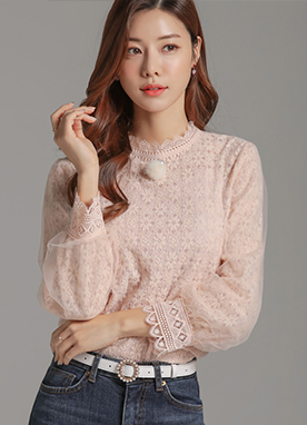 Feminine Floral Lace Blouse, Styleonme