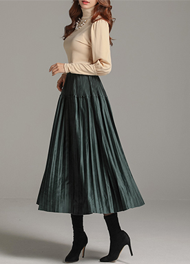 Glossy Suede Pleated Long Skirt, Styleonme