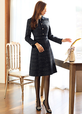 Pearl Button Tweed Collared Dress, Styleonme